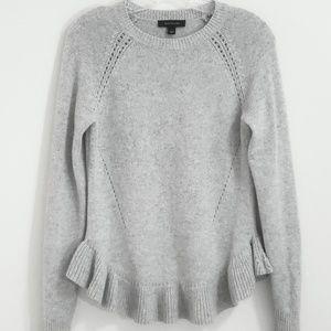 Ann Taylor Ruffled Grey Sweater, Sz S
